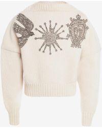 Alexander McQueen クリスタル 刺繍入り スラッシュ ネック ジャンパー - ホワイト