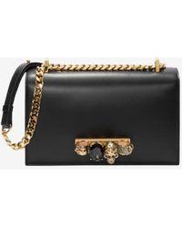 Alexander McQueen Mini Jeweled Satchel In Calfskin - Black