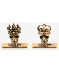 """Alexander McQueen """"queen And King"""" Skull Cufflinks - Metallic"""
