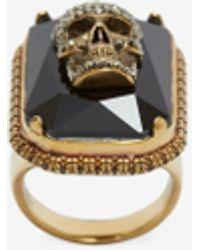 Alexander McQueen Jeweled skull ring - Métallisé