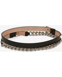 Alexander McQueen Double Belt With Chain - ブラック