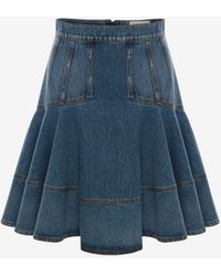 Alexander McQueen Blue Denim Kickback Mini Skirt