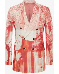 Alexander McQueen Trompe-l'œil Double-breasted Printed Jacket - レッド