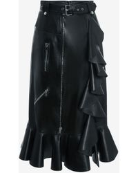 Alexander McQueen Leather Pencil Skirt With Ruffle Detail - ブラック