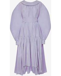 Alexander McQueen Cotton Silk Poet Sleeve Dress - パープル