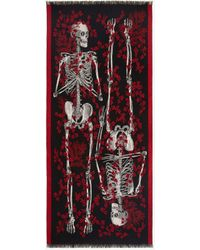Alexander McQueen Black Ivy King And Queen Scarf - Red