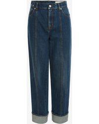Alexander McQueen Wide Leg Denim Trouser - ブルー