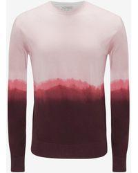 Alexander McQueen Dip Dye Printed Crew Neck Jumper - Pink