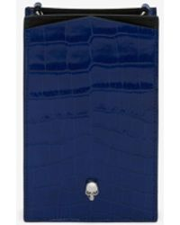 Alexander McQueen チェーン付きスカル フォンケース - ブルー