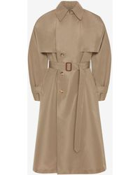 Alexander McQueen Brown Dropped Sleeve Trench Coat - Natural