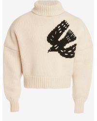 Alexander McQueen White Dove Intarsia Roll Neck Jumper
