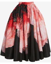 Alexander McQueen Print Gathered Midi Skirt - レッド