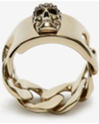 Alexander McQueen Chain Skull Ring