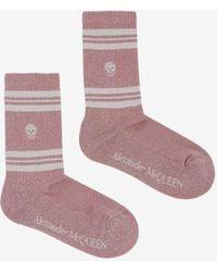 Alexander McQueen Skull Knitted Socks - Pink