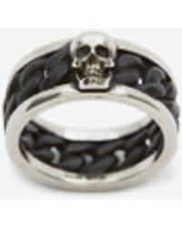 Alexander McQueen Bi-color Skull Chain Ring - メタリック