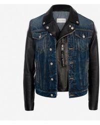 Alexander McQueen Hybrid Denim Biker Jacket - Blue