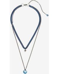 Alexander McQueen Silver Blue Chrome Double Layer Necklace - Metallic