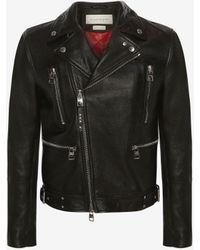 Alexander McQueen Mcqueen Classic Leather Biker Jacket - ブラック