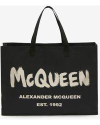 Alexander McQueen イーストウエスト マックイーン グラフィティ トートバッグ - ブラック