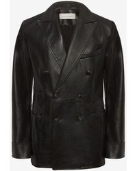 Alexander McQueen Leather Double Breasted Jacket - Schwarz