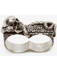 Alexander McQueen Doppelring Skull and Snake - Mettallic