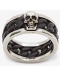 Alexander McQueen Anello Skull a Catena Bicolore - Metallizzato