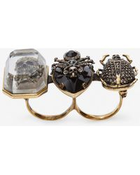 Alexander McQueen - Jeweled Insect Double Ring - Lyst