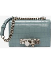 Alexander McQueen Mini Jewelled Satchel - Blau