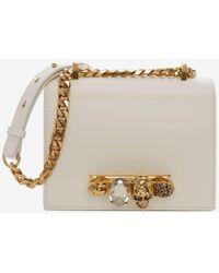 Alexander McQueen Small Jeweled Satchel - White