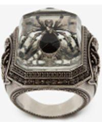 Alexander McQueen Ring mit Spinne in Harz - Mettallic