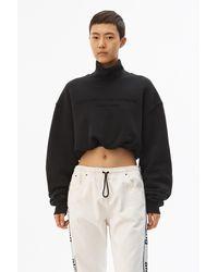 Alexander Wang Cropped Mockneck Sweatshirt - Black