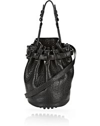 Alexander Wang - Diego In Black Pebble Leather With Matte Black - Lyst