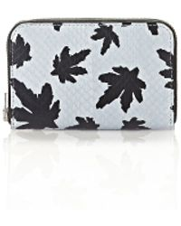 Alexander Wang - Mini Compact Wallet In Pale Blue Leaf Printed Elaphe - Lyst