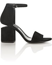 Alexander Wang - Abby Suede Sandal With Rhodium - Lyst
