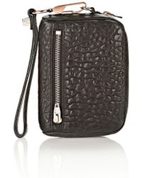 Alexander Wang - Large Fumo Wallet In Pebbled Black With Rose Gold - Lyst