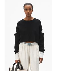 Alexander Wang Bi-layer Cropped Oxford Pullover - Black