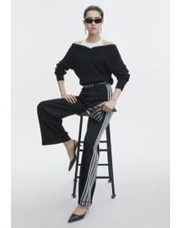 f2cc380c9 Lyst - T By Alexander Wang Black Inner Tank Off-the-shoulder Sweater ...