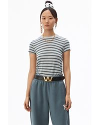 Alexander Wang Striped Slub Boy Tee - Gray