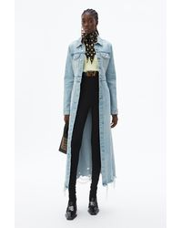 Alexander Wang Fitted Denim Trench Coat - Blue