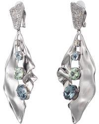 Alexis Bittar Crumpled Rhodium Multi Stone Clip Earring - Metallic
