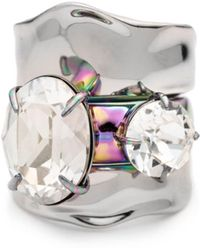 Alexis Bittar Liquid Rhodium With Pvd Crystal Stacked Ring Set - Multicolour