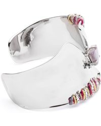 Alexis Bittar Liquid Rhodium With Stitched Edges Cuff Bracelet - Multicolour