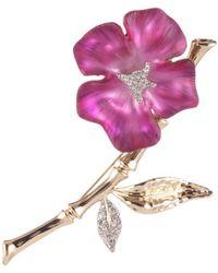 Alexis Bittar Crystal Encrusted Bamboo Blossom Pin - Multicolour