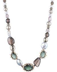 Alexis Bittar Georgian Stone Beaded Single Strand Necklace - Metallic