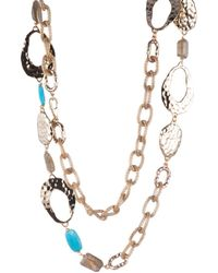 Alexis Bittar Hammered Link With Mesh Chain Multi-stone Station Necklace - Metallic