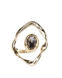 Alexis Bittar Crumpled Orbit Stone Ring - Metallic
