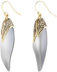 Alexis Bittar Crystal Encrusted Capped Feather Earrings, Silvertone