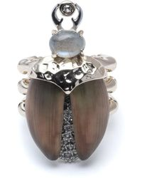 Alexis Bittar Crystal Encrusted Scarab Ring - Multicolour
