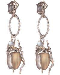 Alexis Bittar Crystal Encrusted Dangling Scarab Post Earring - Multicolour