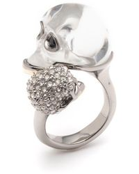 Alexis Bittar Crystal Encrusted Double Skull Ring - Metallic